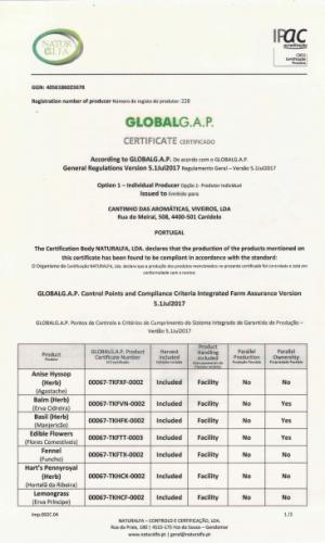 Certificado GLOBAL G.A.P. (2018-2019)