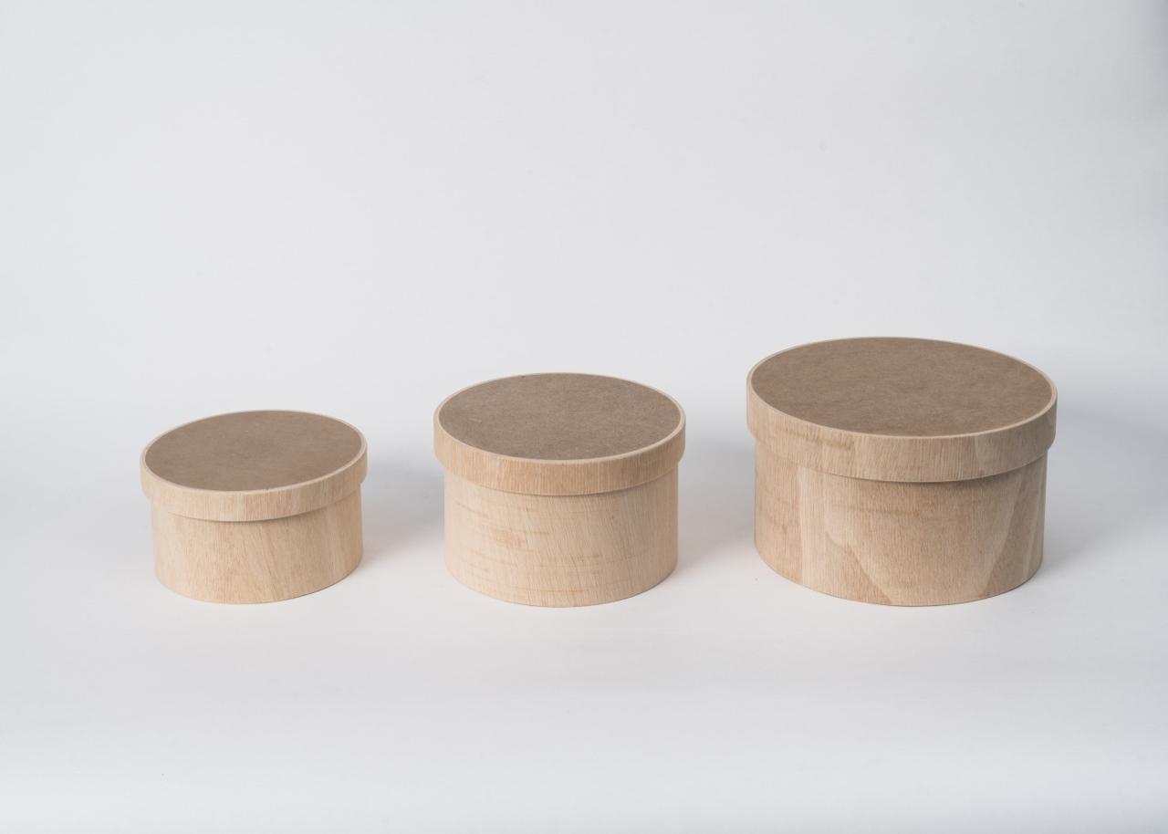 3 caixas madeira redonda